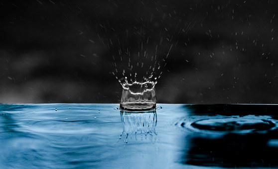 Raindrop, Impact, Water, Blue, Splash, Liquid, Energy