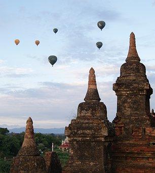 Temple, Balloon, Bagan, Hot Air Balloon, Myanmar