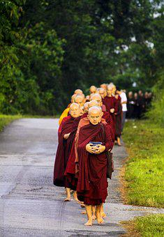 Sangha In Line, Pindacara, Pindapata, Theravada Monks
