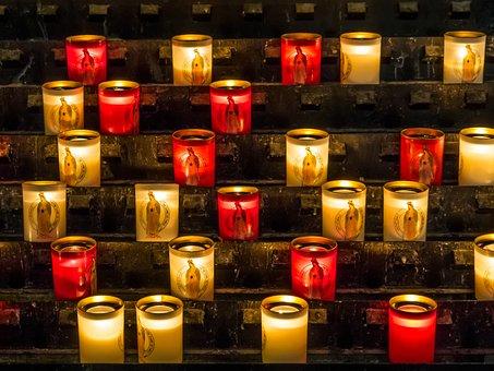 Notre Dame, Church, Basilica, Candles, Religion, Virgin