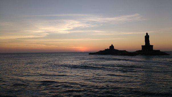 Kanyakumari, Sunrise, India, Beach, Sea, Water, Morning