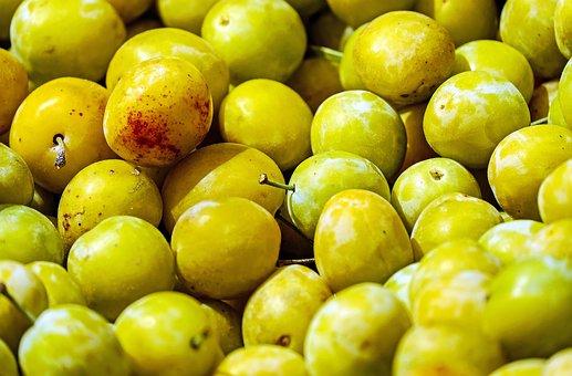 Yellow Plums, Fruit, Stone Fruit, Ripe, Summer