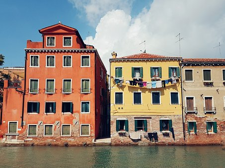 Architecture, Building, Canal, Water, Windows, Outside