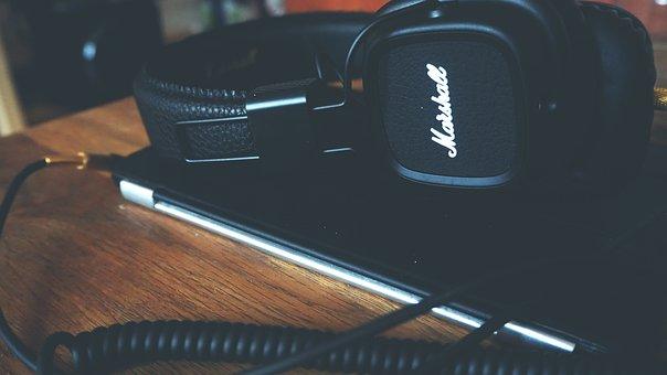 Marshall, Audio, Speaker, Equipment, Work, Desk, Office