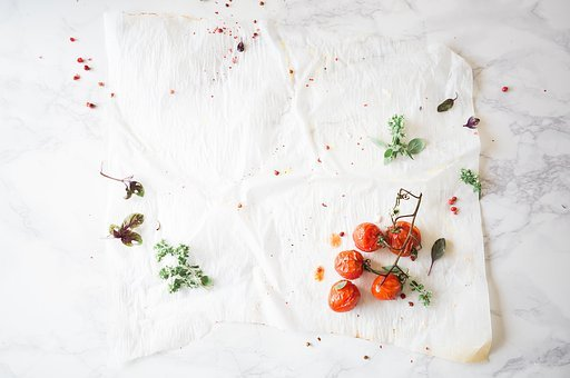 White, Table, Cloth, Green, Plant, Tomato, Food