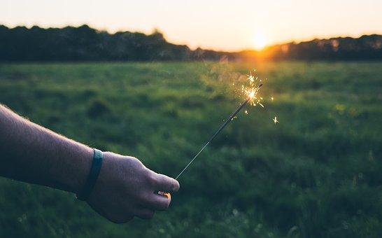 Sparkler, Lights, Fire, Flame, Hand, Green, Grass