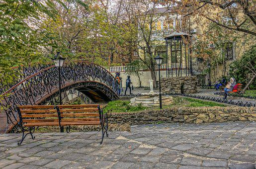 Odessa, Park, Bridge, Humpback, Bench, People