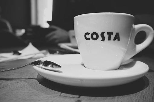 Coffee, Hot, Drink, Espresso, Cup, Saucer, Spoon, Costa