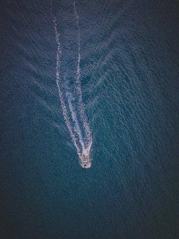 Sea, Ocean, Water, Nature, Aerial, View, Boat