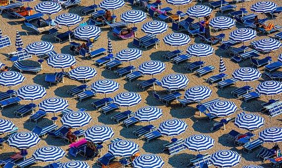 Blue, Umbrella, Outdoor, Beach, White, Sand, Summer