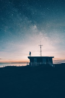 Night, Sky, Stars, Sea, Ocean, Water, Coast, House