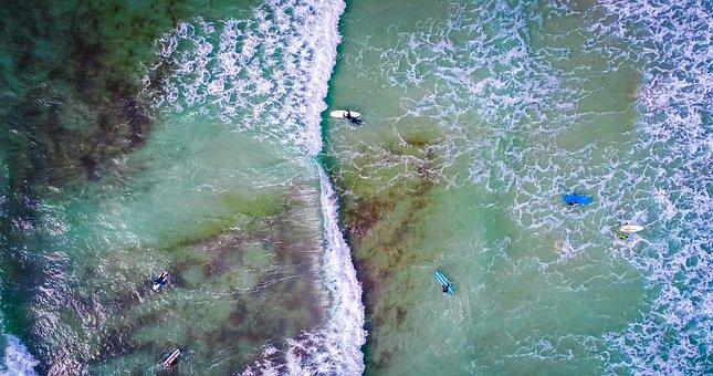 Sea, Ocean, Water, Waves, Nature, Aerial, View, Boat