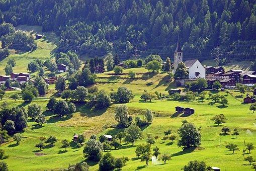 Switzerland, Bergdorf, Parklandschaft, Church, Reported