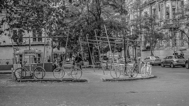 Bicycles, Fence, Odessa, Notary, Black