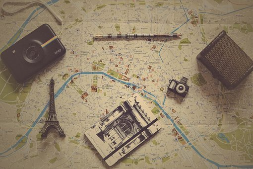 Geography, World, Map, Paper, Wallet, Camera, Pen, Book