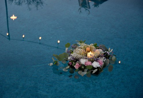 Swimming, Pool, Water, Flower, Floating, Candle