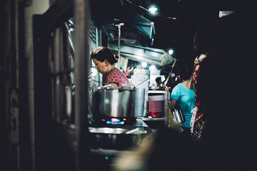 People, Woman, Working, Kitchen, Cooking, Kettle, Gas