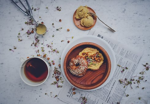 Doughnut, Bread, Food, Snack, Herbal, Tea, Cup