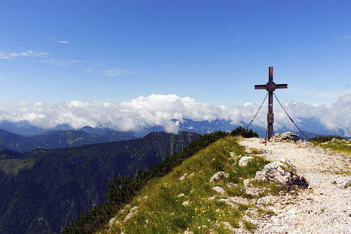Cross, Mountain, Landscape, Sky, Blue, Clouds, Alps
