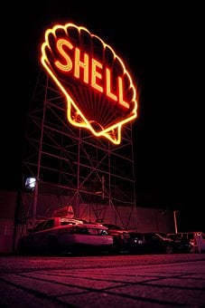 Shell, Billboard, Oil, Company, Steel, Logo, Dark