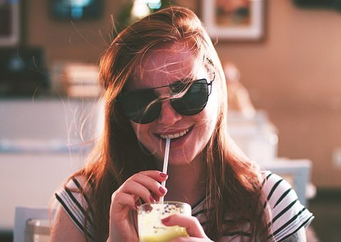People, Girl, Woman, Smile, Happy, Drinks, Smoothie