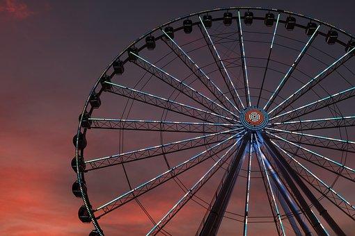 Amusement, Park, Ride, Adventure, Metal, Wheel, Sunset