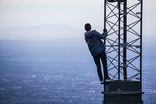 People, Woman, Alone, Climb, Tower, Aerial, Landscape
