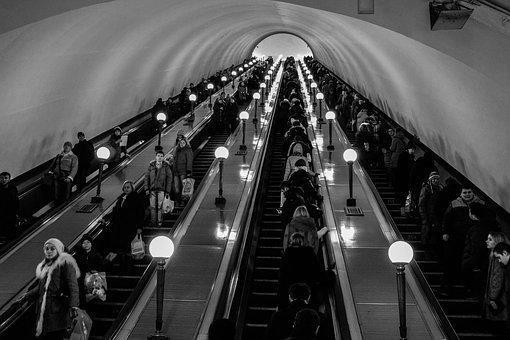 People, Crowd, Airport, Lights, Escalator, Building
