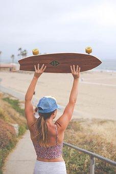 Skateboard, Longboard, People, Girl, Adventure, Outdoor