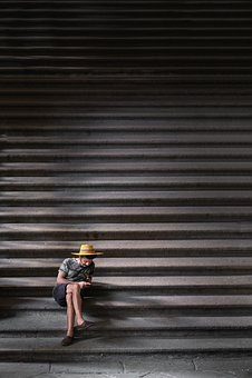 Stairs, Stairway, People, Man, Alone, Sitting, Texting
