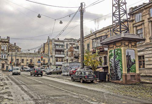 Odessa, Building, Machinery, Street, Road, Pillars