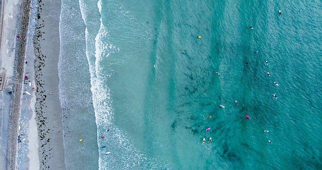 Sea, Ocean, Water, Waves, Nature, Aerial, View, Summer