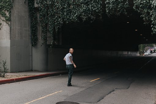 People, Man, Walking, Alone, Road, Dark, Tunnel, Vine