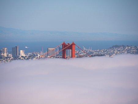Golden Gate, Bridge, Infrastructure, View, Travel, Blue