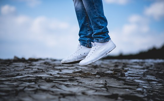 White, Shoe, Sneakers, Land, Jump