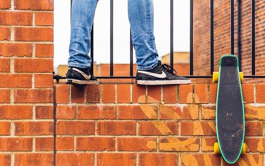 Bricks, Wall, Brickwork, People, Sneakers, Skateboard