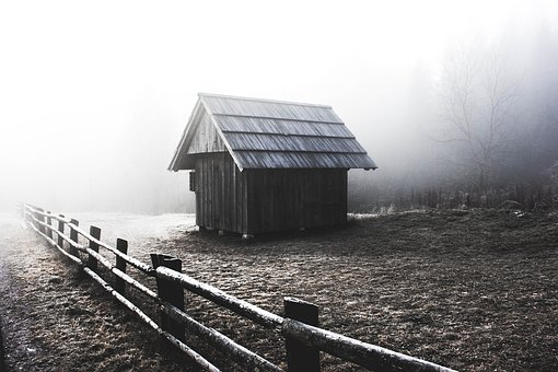Wood, Fence, Outdoor, House, Hut, Black And White