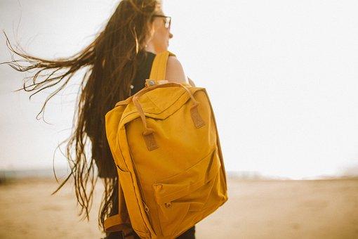 Yellow, Backpack, Bag, People, Girl, Woman, Travel