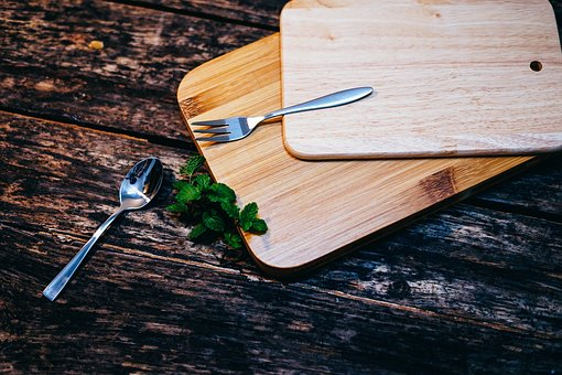 Wooden, Table, Wood, Chopping, Board, Spoon, Fork