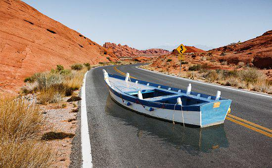 Boat, Road, Illusion, Desert, Water, Contrast