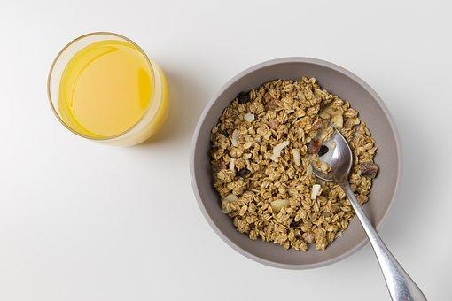 Orange Juice, Drink, Breakfast, Bowl, Cereal, Spoon