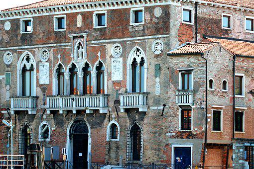 Venice Italy, Canal, Home, Palace, Regal, Arches, Brick