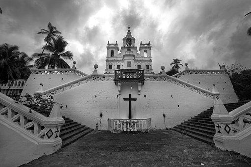 Church, Panjim, Panaji, Goa, India, Portuguese, Old
