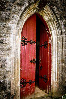 Church, Door, Red Door, Doorway, Bricks, Scotland