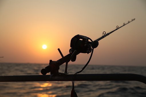 Sea Fishing, Reel Fishing, Electric Drill, Sunset, Sea