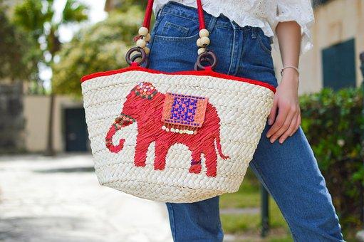 Bag, Fashion, Design, Elephant, Logo, Denim, Jeans