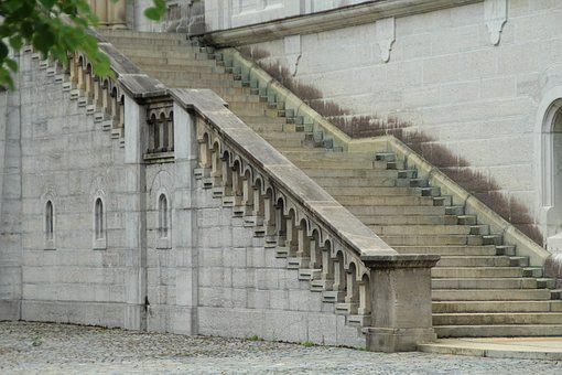 Stairs, Neuschwanstein Castle, Courtyard, Füssen