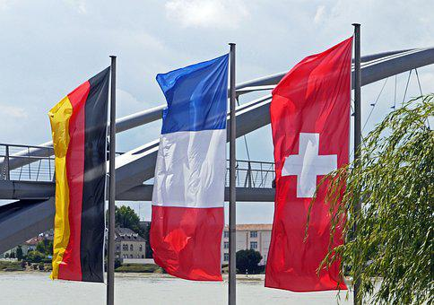 National Flags, Three Countries Bridge, Germany, France