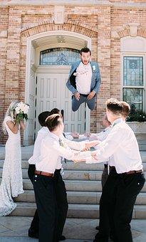 People, Men, Jump, Fall, Play, Wedding, Groom, Bride