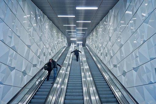 Escalator, Underground, Handrails, Metro, Movement